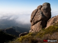 Sandstone rock formation and chaparral, Santa Monica Mountains National Recreation Area, California